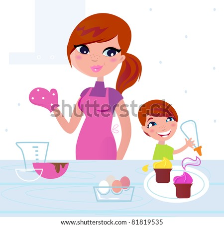 Happy mother with her son cooking in the kitchen Mom and ...