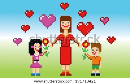 happy mothers day card pixel art style vector illustration - stock vector