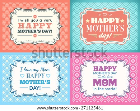 Happy Mothers day card set. Typography letter font type. Editable for happy birthday party invitation. Vintage frame on red background. Vector illustration for your retro holiday design. - stock vector
