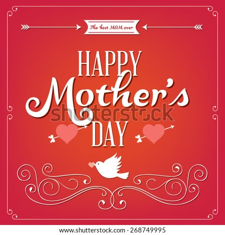 Happy mothers day card vintage type font - stock vector