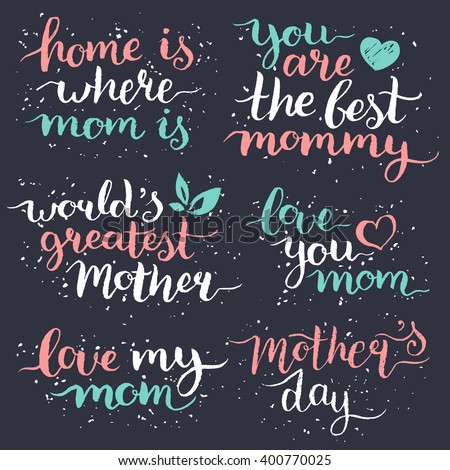 Happy Mothers Day. Happy Mother's day hand lettering design set. Mothers day greeting cards, Mothers day typography posters. Happy Mothers day backgrounds, Mothers day handwritten quotes. Illustration - stock vector