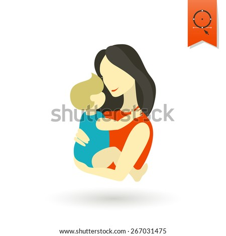 Happy Mothers Day Simple Flat Icon. Vector, Clean Work, Minimum Points - stock vector