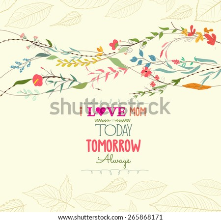 happy mothers day with florals greeting card - stock vector