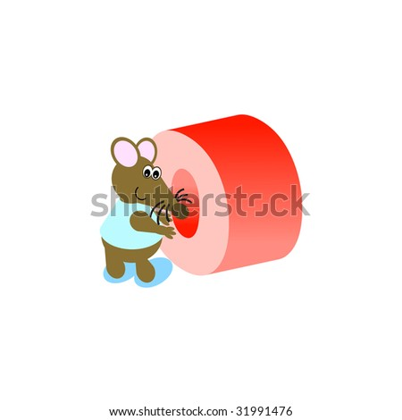 Happy Mouse with lower case letter o - stock vector