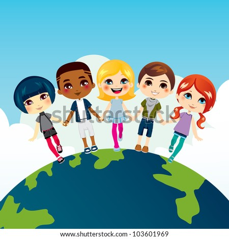 Happy multi-ethnic children holding hands on top of Earth globe - stock vector