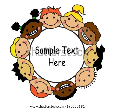 Happy multicultural kids with banner cartoon illustration - stock vector