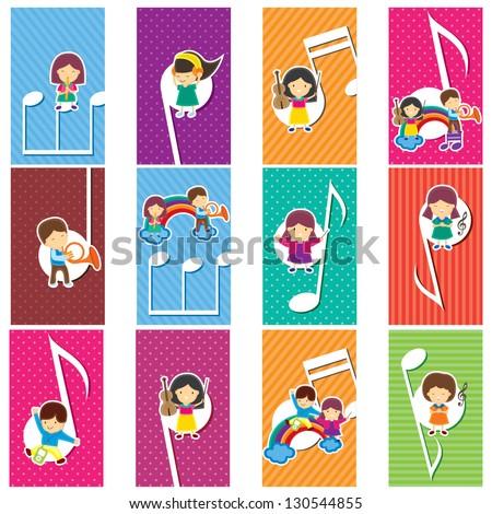 Happy Music Kids - stock vector