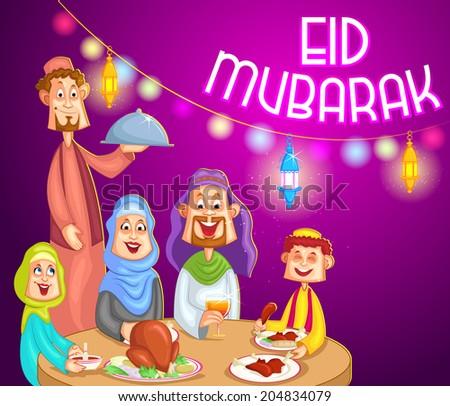 Happy muslim family enjoying iftar for Eid celebration in vector - stock vector