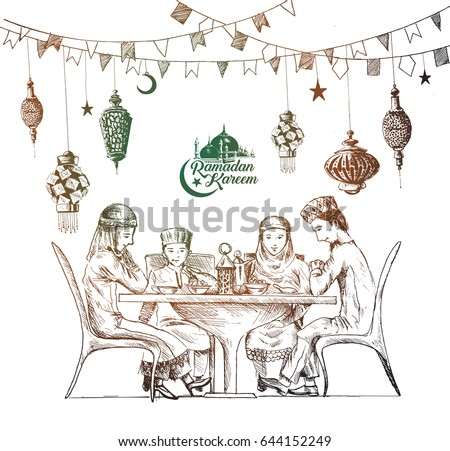 Happy Muslim family Ramadan Kareem Iftar party celebration, Hand Drawn Sketch Vector illustration.