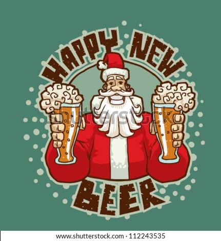 Happy New Beer, vector 03 - stock vector