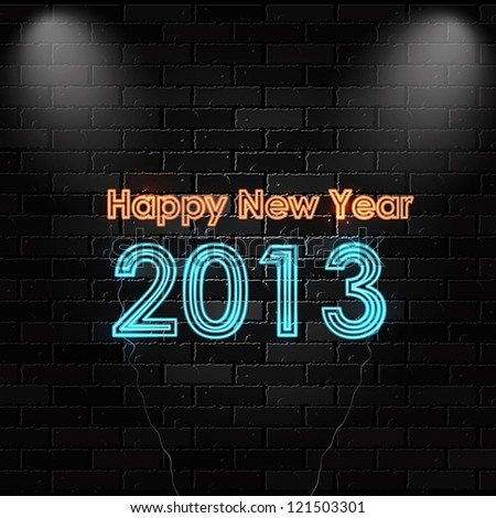 Happy New 2013 neon sign. Vector - stock vector