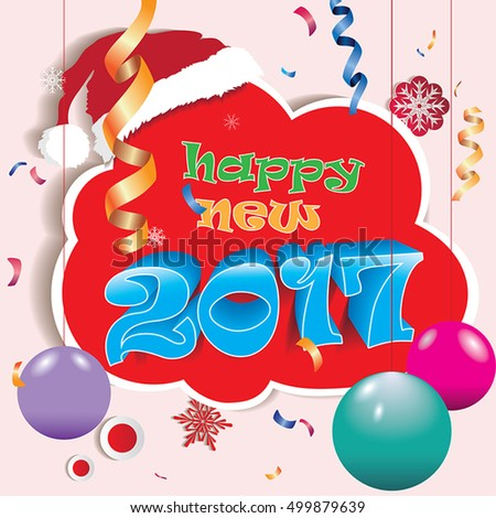 Happy New 2017,seasons greetings.Colorful design.Vector illustration.