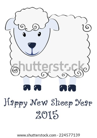 Happy New Sheep Year 2015 illustration - stock vector