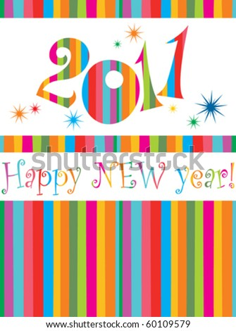 Happy new year 2011! All elements are layered separately in vector file. - stock vector