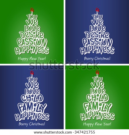 Happy New Year and Christmas Happiness Family Greeting Card set. Merry Christmas and happy new year lettering, vector illustration green background