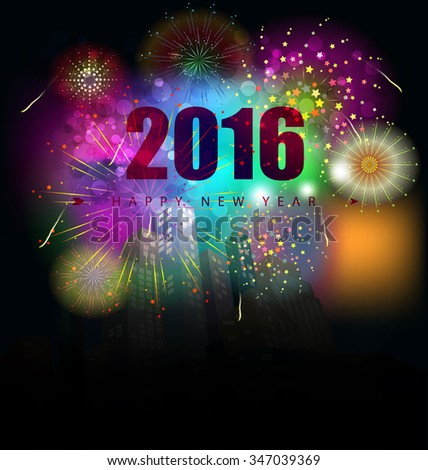 happy new year 2016 and fireworks