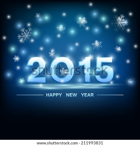 happy new year 2015 and glowing light pattern on dark blue sky background (vector)