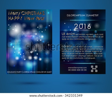 Happy New Year and Merry Christmas brochure design. Template for poster, background, banner, flyer. Vector illustration - stock vector
