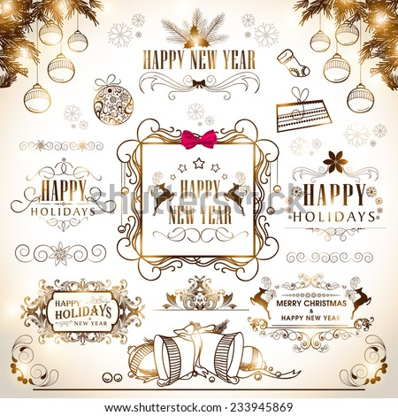 Happy New Year 2015 and Merry Christmas calligraphic and typographic collection. - stock vector