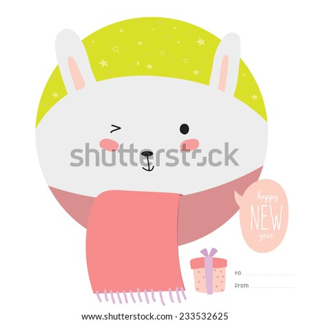 Happy New Year and merry Christmas card with cartoon and funny animals with place text. Cute bunny wrapped in a scarf, congratulates all of the holidays. Can be used like greeting or postal card - stock vector