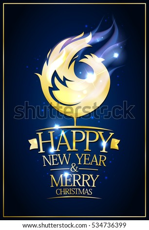 Happy new year 2017 and merry Christmas card with golden rooster