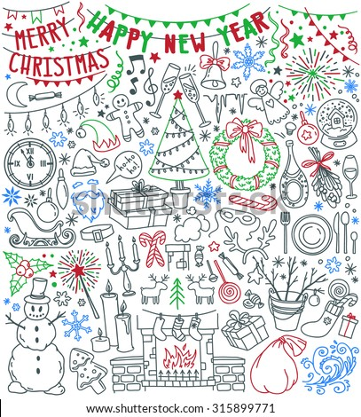 Happy New Year and Merry Christmas doodle set. Traditional symbols: christmas tree, fireplace with stockings, gift boxes, snowflakes, advent wreath, home party decoration. Freehand vector drawing. - stock vector
