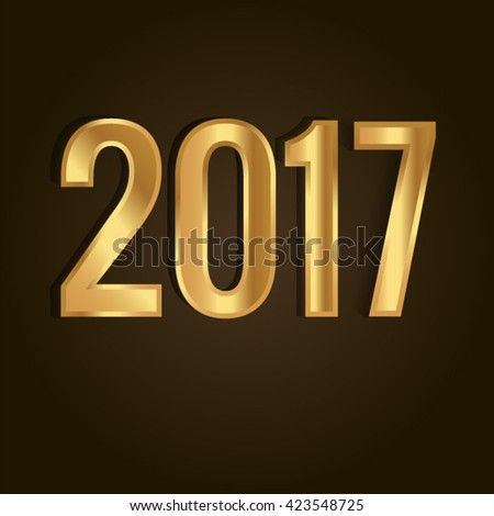Happy New Year and Merry Christmas 2017 greeting card. Vector EPS 10