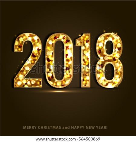 Happy New Year Merry Christmas 2018 Stock Vector 529469044 ...