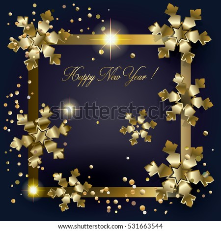 Happy new year merry christmas greeting stock vector royalty free happy new year and merry christmas greeting card with glitter gold snowflakes 3d light effect m4hsunfo