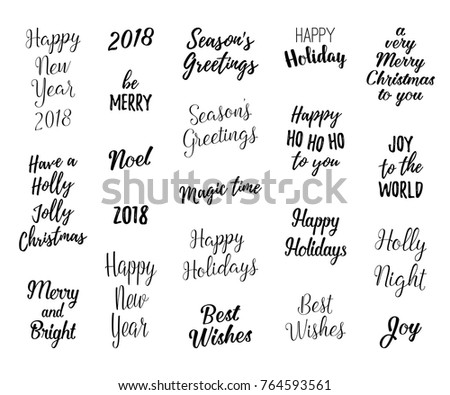 Happy new year merry christmas hand stock photo photo vector happy new year and merry christmas hand lettering set for greeting cards vector winter holiday m4hsunfo