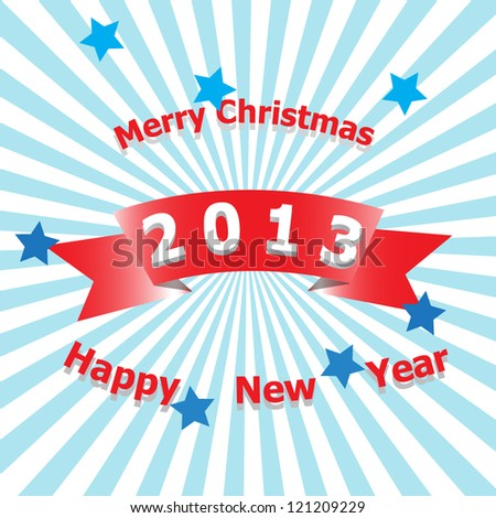 Happy new year and Merry christmas 2013 on grunge elements background