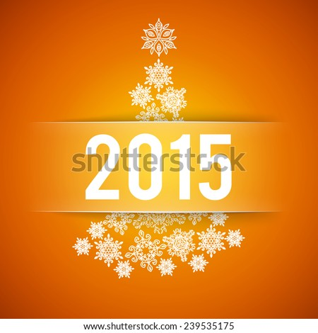 Happy New Year and Merry Christmas orange vector background with fir - tree from snowflakes - stock vector