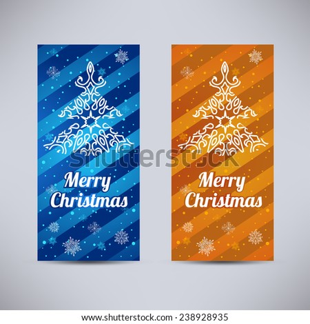 Happy New Year and Merry Christmas vector backgrounds blue and orange vertical set with ornament fir - tree - stock vector