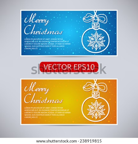 Happy New Year and Merry Christmas vector blue and orange banners - horizontal set with christmas ball with snowflakes - stock vector
