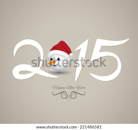 Happy new year and merry christmas. Vector illustration. Can use for calendar, printing and web. Happy new year 2015 creative greeting card design with snowman head. - stock vector