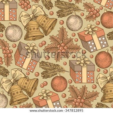 Happy New Year and Merry Christmas. Winter background. Holiday. Gifts, toys, bells, tree realistic style. Greeting background. Set. Sale. Freehand drawing, engraving, print. Vector stock Illustration.