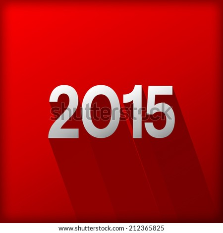 happy new year 2015 and shadow pattern red background (vector)