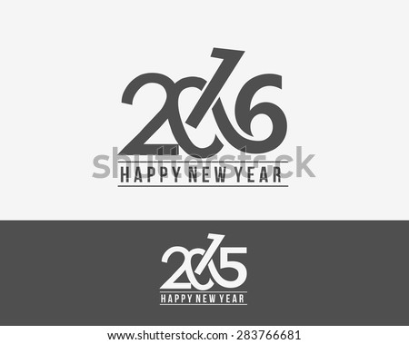 Happy new year 2015 and 2016 Text Design  - stock vector