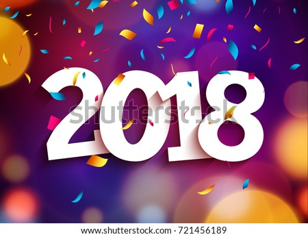 Happy New Year 2018 background decoration. Greeting card design template 2018 confetti. Vector illustration of date 2018 year. Celebrate brochure or flyer.