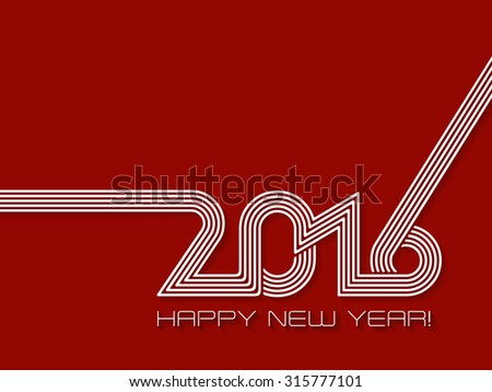 Happy new year 2016 background design in red and white - stock vector
