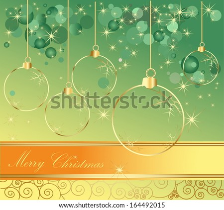 Happy New Year background gold and green - stock vector