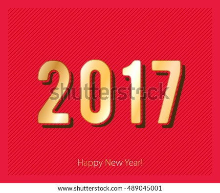 Happy New Year 2017 background. Gold text. Calendar design typography vector illustration. Golden digits white design with shadows on red background.