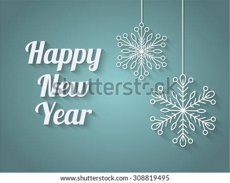 Happy New Year background, paper snowflakes on strings, teal vignette background. vector illustration. EPS10 - stock vector