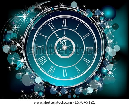 Happy New Year  background silver and blue - stock vector