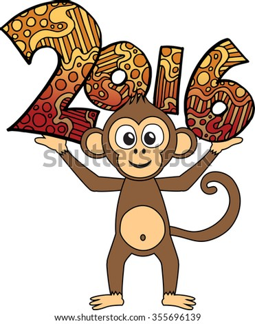 Happy New Year 2016 background. Vector zentangle numbers illlustration. Year of the monkey.