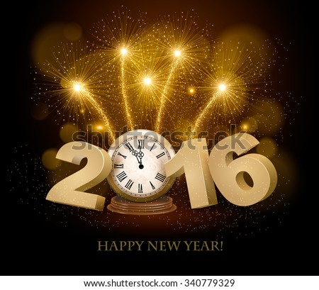Happy New Year background with 2016, a clock and fireworks. Vector. - stock vector