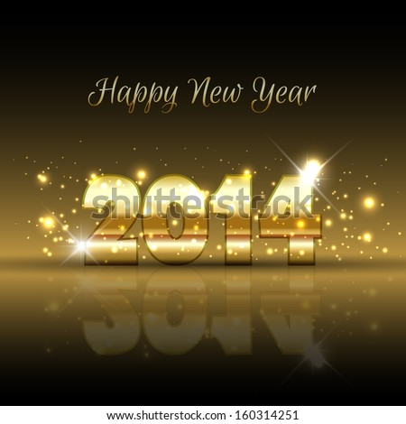 Happy New Year background with a gold metallic design - stock vector