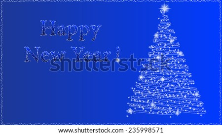 Happy New Year background with abstract Christmas tree isolated on blue