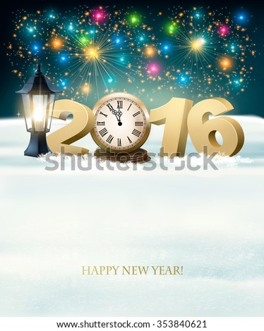 Happy New Year 2016 background with fireworks. Vector. - stock vector