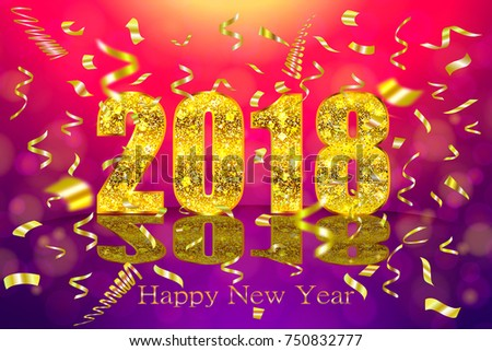 happy new year 2018 background with golden sparkling texture gold numbers 0 1